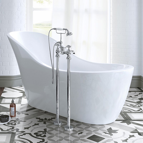 A traditional freestanding bath shower mixer with shower handset