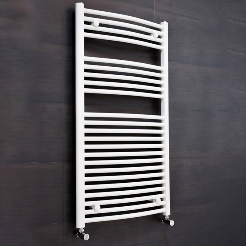 Brenton White Curved Heated Towel Radiator - 800 x 400mm