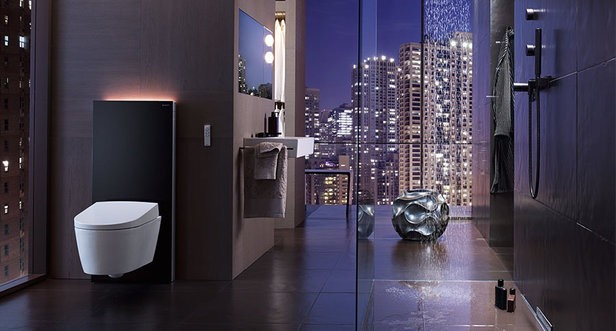 Geberit smart toilet with night skyline background