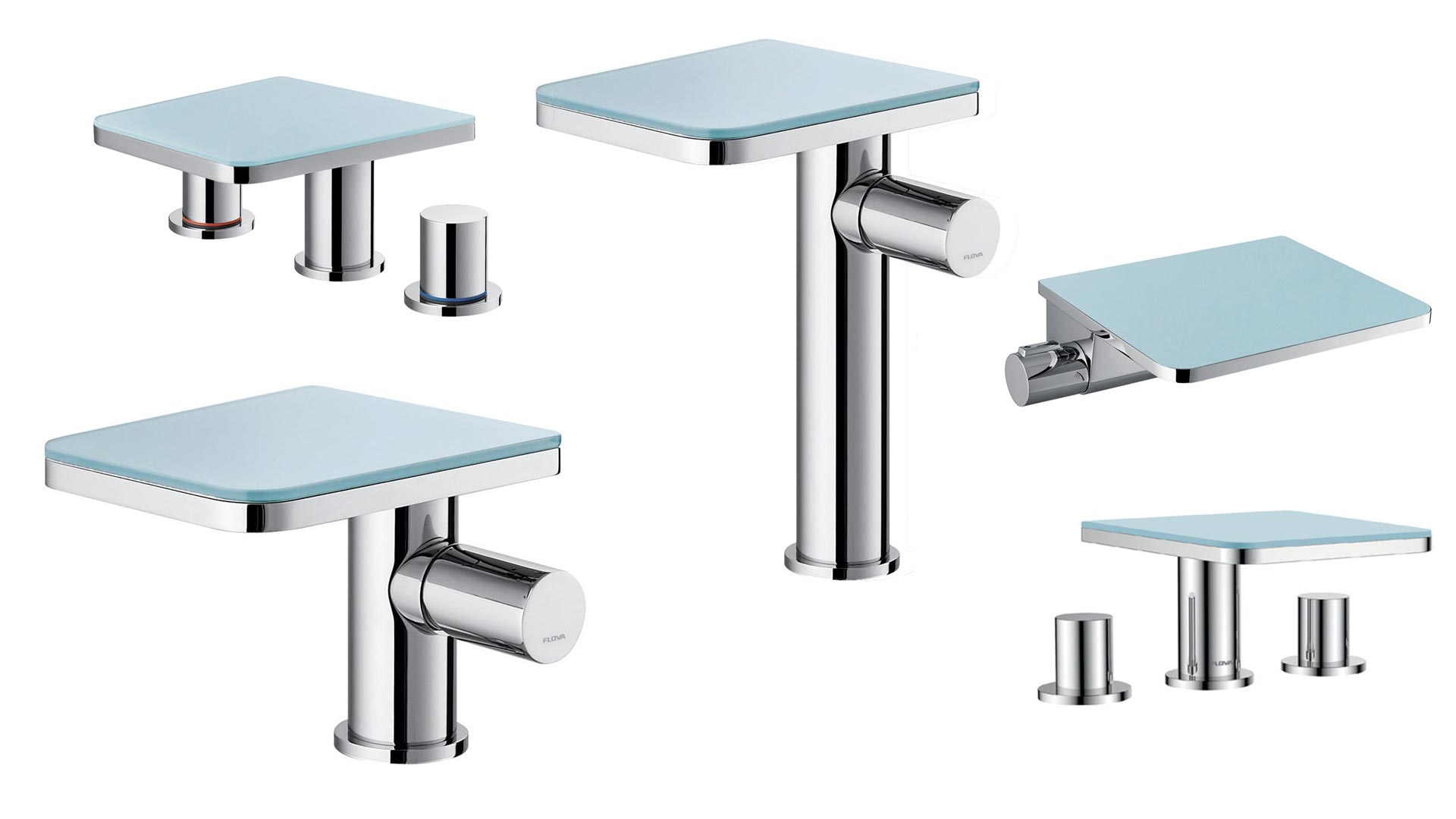 collage of flova glass waterfall basin mixer tap examples