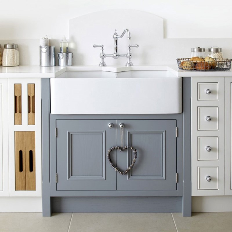 A double belfast ceramic kitchen sink