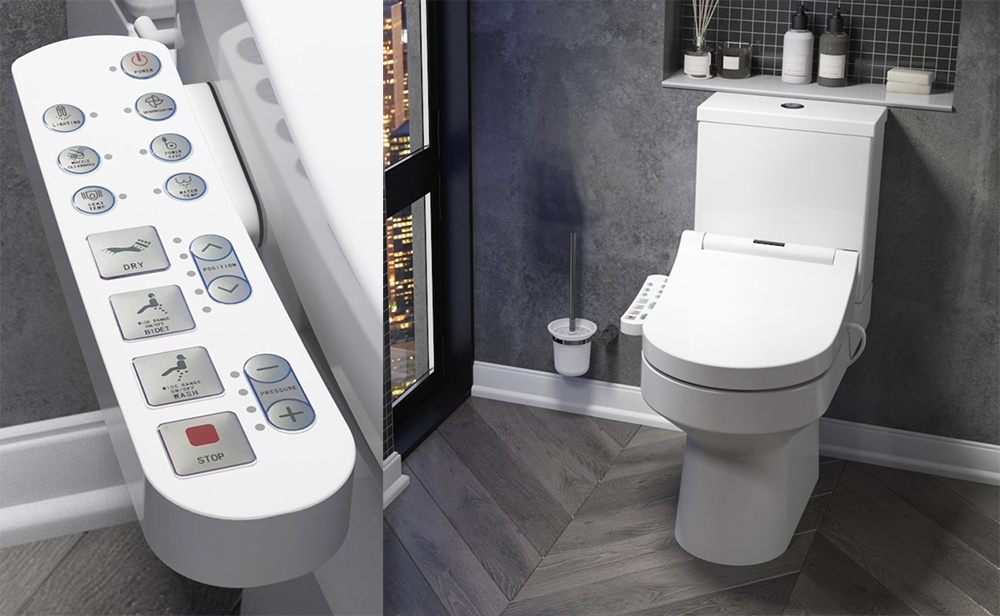 Smart Toilet with Adjustable Bidet Seat and Closeup of Seat Remote Control