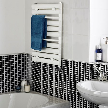 A cheap heated towel rail from Premier