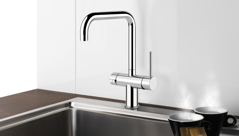 3 way hot water kitchen mixer in a shiny chrome finish