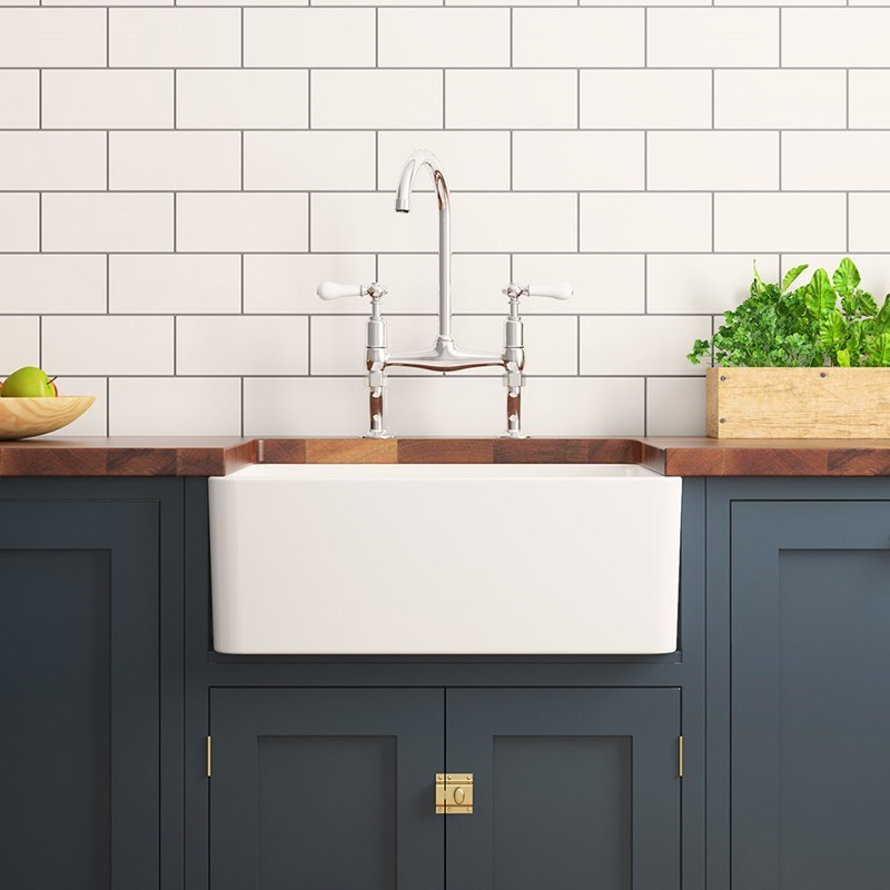 A large one bowl Belfast kitchen sink
