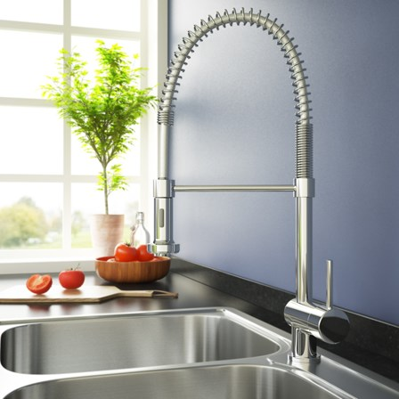 A versatile chrome pull out spray tap - use two kitchen sinks at once.