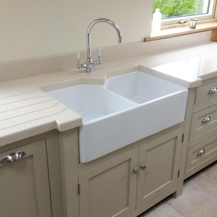 A double ceramic belfast kitchen sink