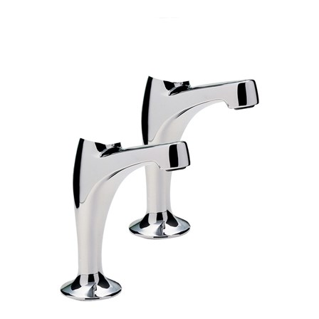 A pair of headless taps that look like elegant swans.