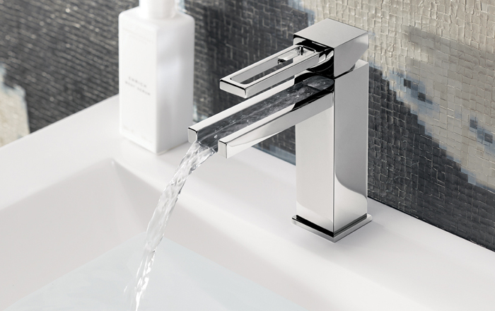 A waterfall basin tap that glitters as it runs