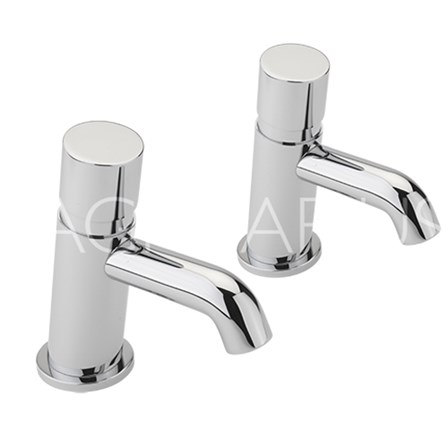 Water saving non-concussive basin taps
