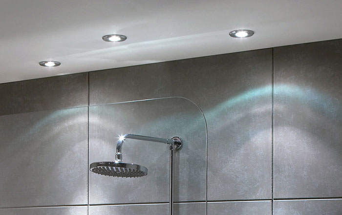 Adding down lights to a shower is a great idea to create delicate lighting