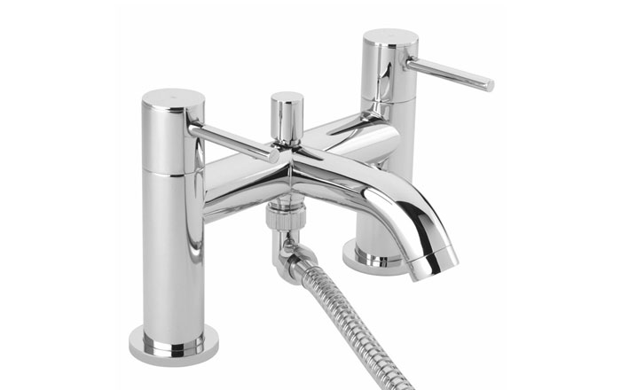 A bath shower mixer kit with a high shine chrome finish