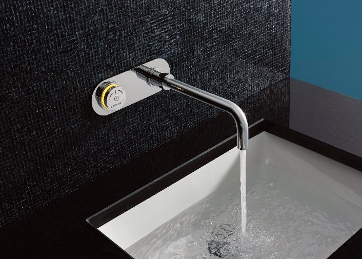 A thermostatic basin tap controlled by a crosswater digital accessory to ensure maximum safety.