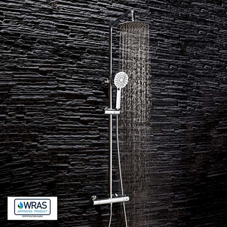 An exposed thermostatic bar shower valve