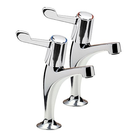 High neck pillar taps, with coloured tap indicators
