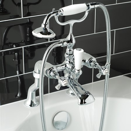 A beautifully traditional low water pressure bath tap with a shower handset