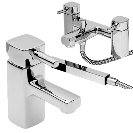A vellamo basin mixer and shower pack in a shiny chrome