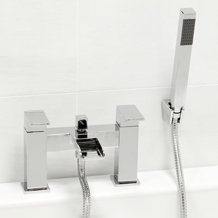 A modern chrome bath filler and shower handset that will draw attention in any bathroom
