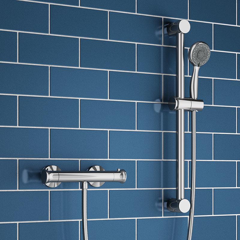 Thermostatic Top Fixing Bar Shower Valve /& Adjustable Slide Rail Kit Bathroom