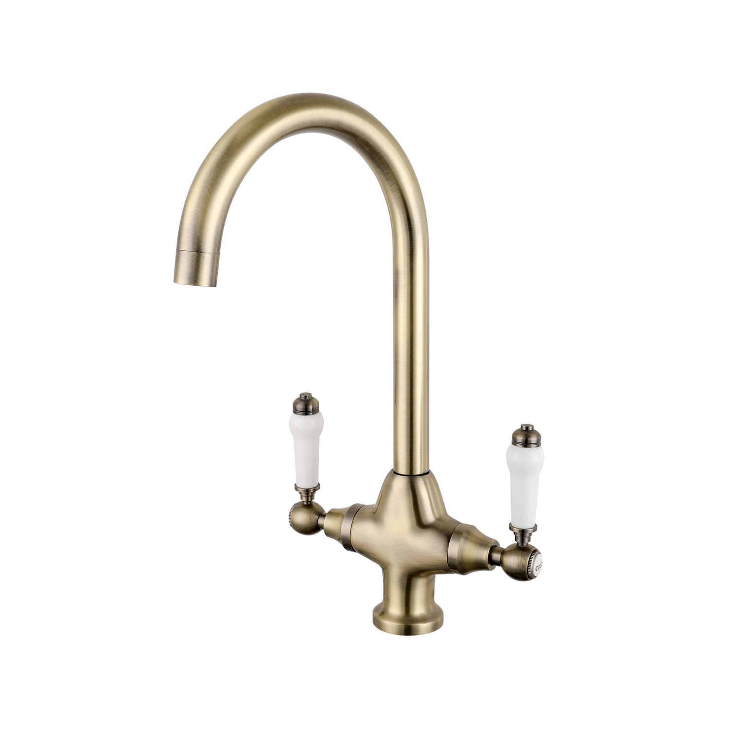 Gold Polished Brass Kitchen Traditional Ceramic Lever Mono bloc Mixer Tap Belfast Butler