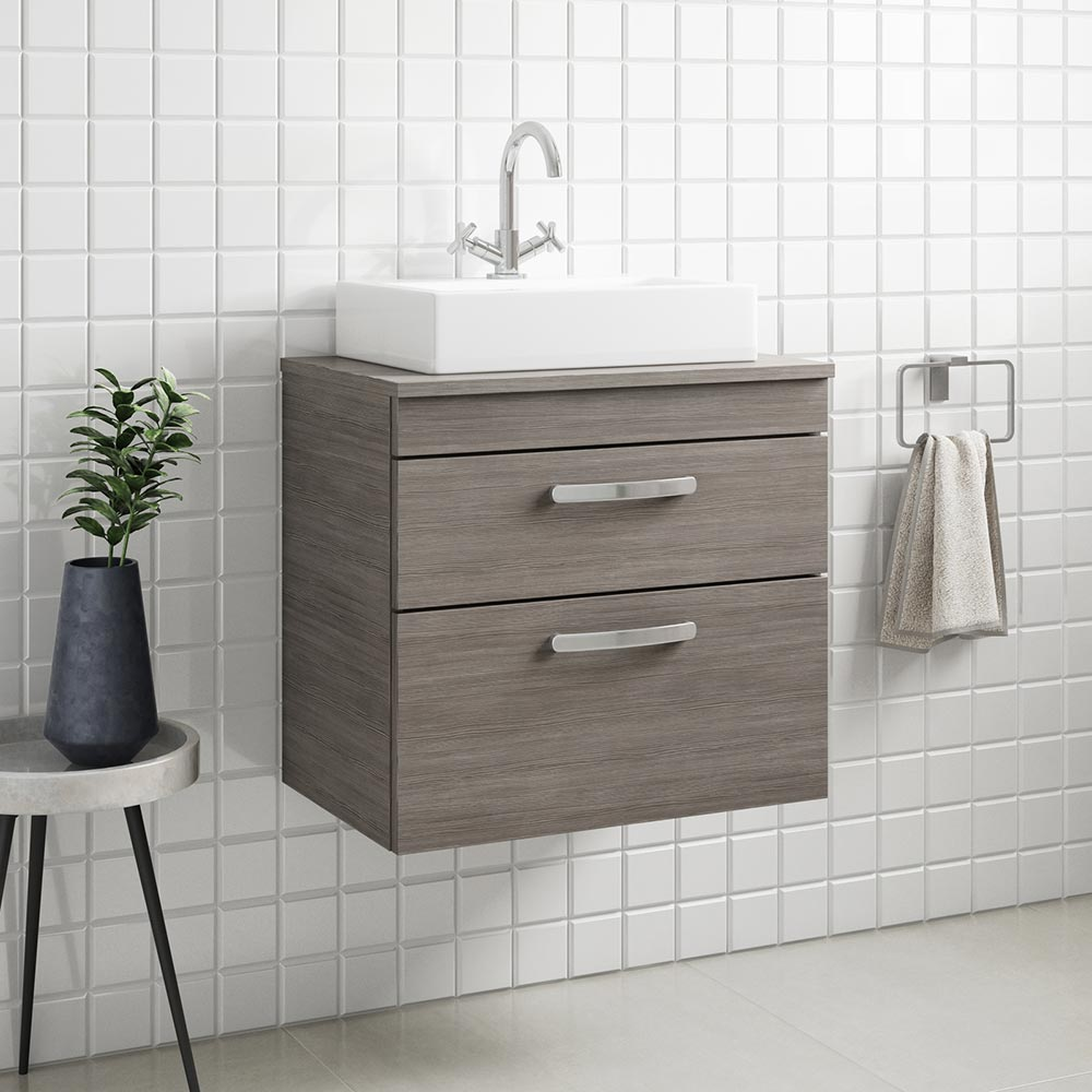 500//600//800mm Bathroom Sink Basin Vanity Unit Countertop Furniture Cabinet Grey