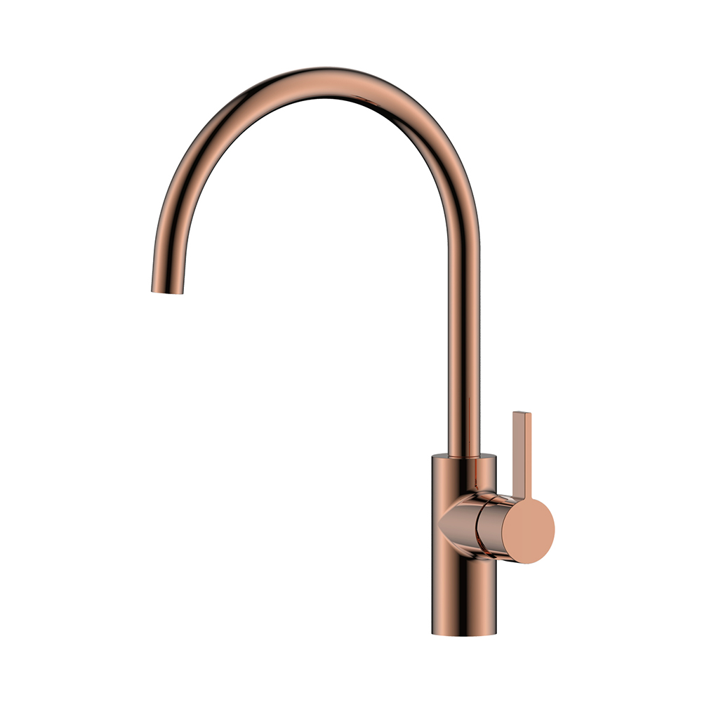 Single Lever Rose Gold Kitchen Sink Mono Mixer Tap Modern