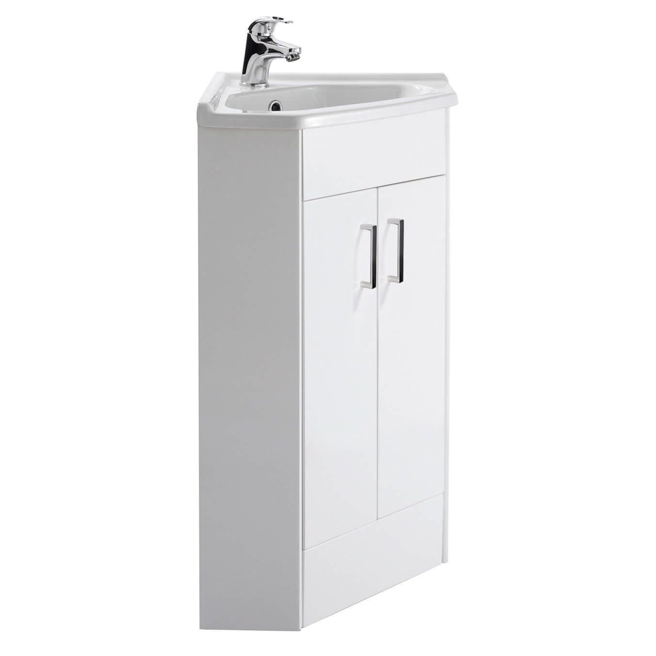 Vellamo Alpine White Gloss 2 Door Corner Cabinet Vanity Unit Ceramic Basin Tap Warehouse