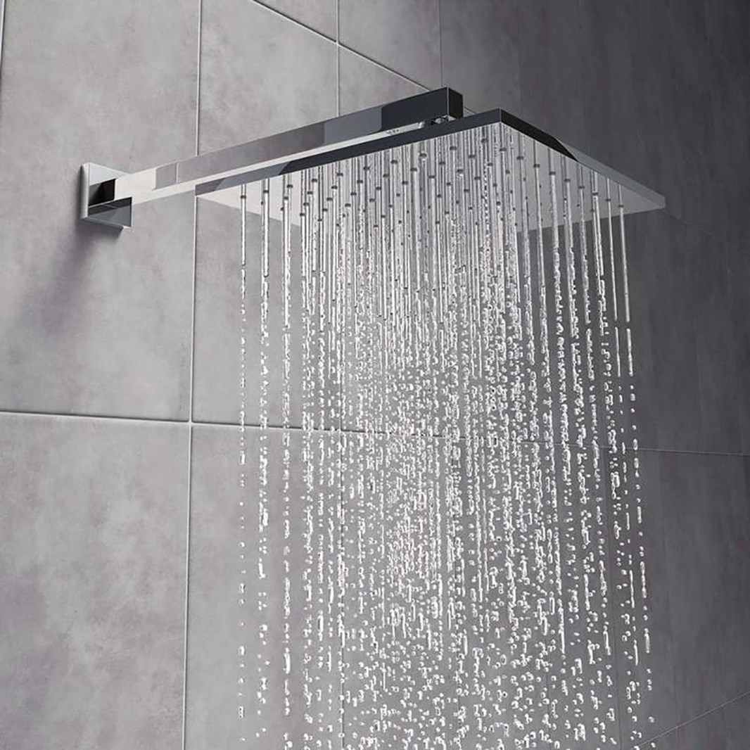 Budget 200mm Fixed Shower Head & Arm ABS Plastic Chrome